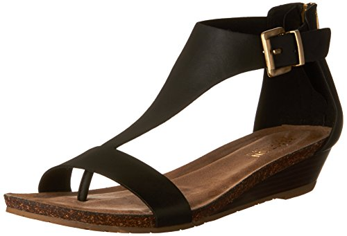 Ladies Black Leather Sandals Heels - Kenneth Cole REACTION Women's Great Gal T-Strap Wedge Black 7.5 M US