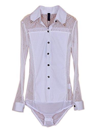 ZAMME Mujer de manga larga de encaje delgado Hallow Camiseta Body blusa superior Blanco