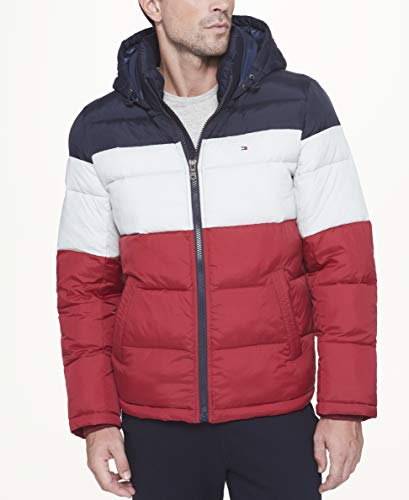 Tommy Hilfiger Men's Classic Hooded Puffer Jacket, Midnight/White/red, Large