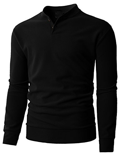 H2H Men's Casual Shawl Collar Sweatshirts Long Sleeve Pullover Black US L/Asia XL (KMOSWL0221)