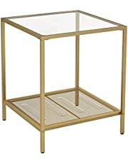 VASAGLE Side Table, 2-Tier End Table, Accent Table with Tempered Glass Top, Gold ULGT030A01