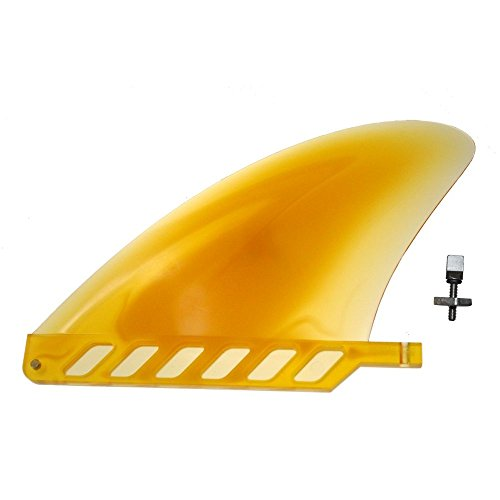 """4.6"""" US box center fin Safety Flex Soft replacement for longboard SUP Stand up Paddleboard River Surf Whitewater airSUP AIR7 Skeg with FREE 'No-Tool' Fin Screw by saruSURF (semi transparent yellow)"""