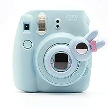 Cute Bunny Selfie And Close Up Lens Shot Mirror For Fujifilm Instax Mini8 Mini7s Hellokitty Instant Camera (Blue Bunny)