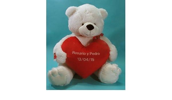 Oso de peluche con corazón personalizable (165cm (altura total), Blanco): Amazon.es: Juguetes y juegos