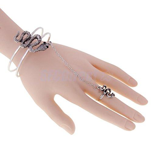 Vintage Silver Slave Snake Bracelet Ring Harness Hand Cha...