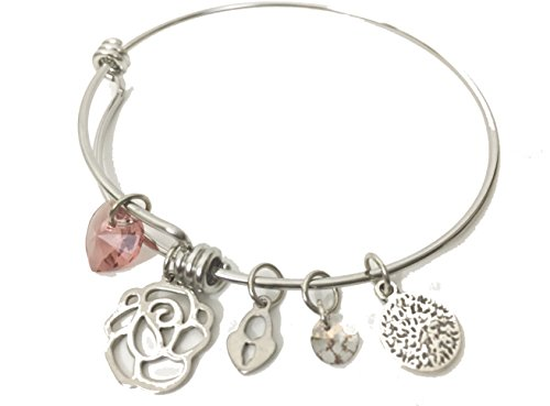 [Stainless Steel Wire Bangle Charm Bracelet Flower & Hearts Theme Pink Swarovski Crystal Heart & Heart Lock] (Expandable Stainless Steel Bracelet)
