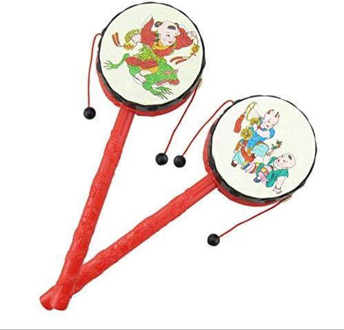 LUCKY FAT MAN Hochet Chanceux, Tambourin pour Instrument de Musique pour Enfants, hochet Double Usage pour bébé - Tambour, Jouets Traditionnels Chinois Classiques (modèle envoyé au Hasard)