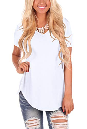 Ladies Casual Short Sleeve Shirts Summer V Neck Tee Tops White 2XL