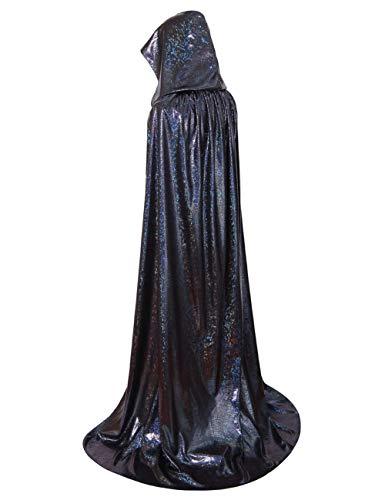 GRACIN Unisex Halloween Hooded Cloak, Full Length Shiny Snake Skin Costume Party Cape for Adult (63