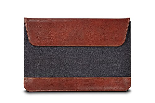 Maroo Microsoft Surface 3 Woodland Sleeve - Stylish Sleeve to Keep Surface 3 Snug and Comfortable, Stylus Holder, Brown Synthetic Leather and Gray Woolen Felt Exterior, Non-Scratch Microfibre Interior from Maroo
