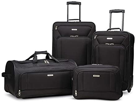 American Tourister Fieldbrook XLT Softside Upright Luggage, Black, 4-Piece Set (BB/DF/21/25)