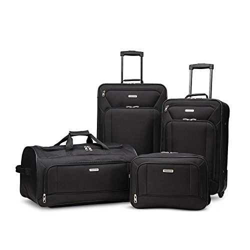 American Tourister Fieldbrook XLT 4pc Set (bb/Wh Dfl/ 21/25 Upright)), Black