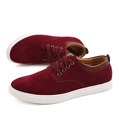 Een Andere Zomer Casual Faux Suede Skate Schoenen Voor Heren Herenschoenen Rood