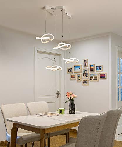 3/4ライト   LEDペンダントライト リモコン付き調光対応 モダンクリエイティブアートマットホワイト   シーリングライト キッチン用ライトダイニングランプダイニングテーブルバーカフェロフト   シャンデリア, 4 Light B07T3TLDXT