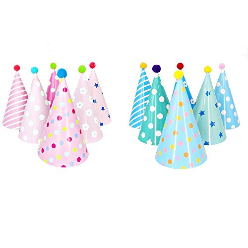 Blue Cone Party Hats (Party Hats, Lovely Cone Party Hats for Party Decorations, Set of 12PCS)