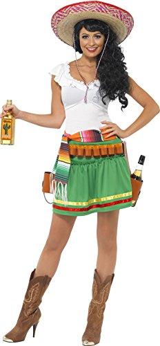 Smiffy's Women's Tequila Shooter Girl Costume, Dress, Striped Belt and Belt with Holsters, Western, serious Fun, Size 10-12, (Mexican Girl Costume)