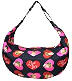 I Love Lucy Hearts Logo Print Hobo Bag - Casual Style Microfiber Purse