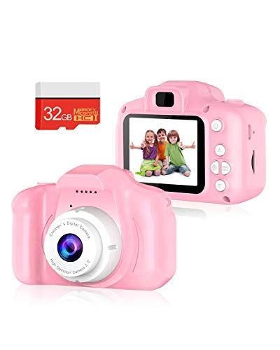 oteeto Kids Camera Video Digital Camera for Kids, Video Record Camera Toddler Toys Video Recorder 1080P 2 Inch with 32GB SD Card Gifts for Children Age 4-10 (Pink)