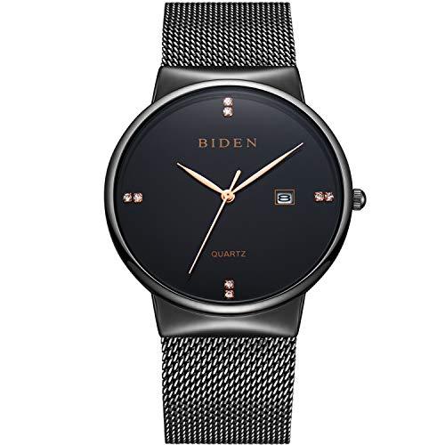 - Watches,Men's Fashion Slim Minimalist Waterproof Watch Analogue Quartz Watches Date Stainless Steel Mesh Watch for Men