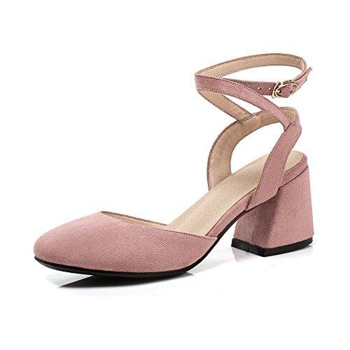 Femmes Bouche de Haut Pink de à Profonde Retour Carrée Peu Talon Boucle Arrière Romain Chaussures Sandales Tête 1qwEfnv5