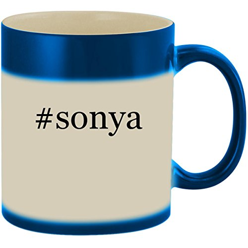 #sonya - 11oz Ceramic Color Changing Heat Sensitive Coffee Mug Cup, Blue