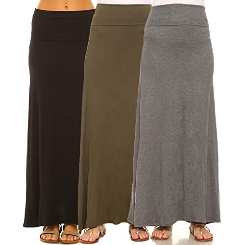Isaac Liev 3-Pack Women's Fold Over Banded Waist Maxi Skirts (Medium, Charcoal. Olive & Black)