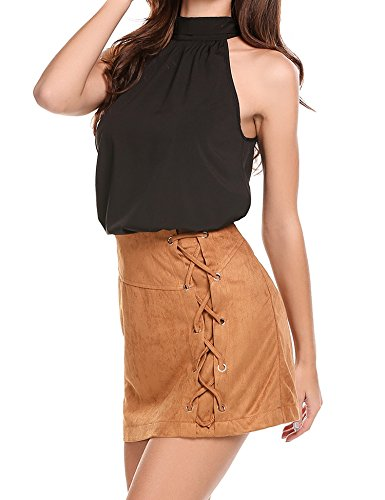 Zeagoo Women's Casual Sexy Lace Up High Waist Bodycon Faux Suede Mini Skirt (XL, Brown) ()