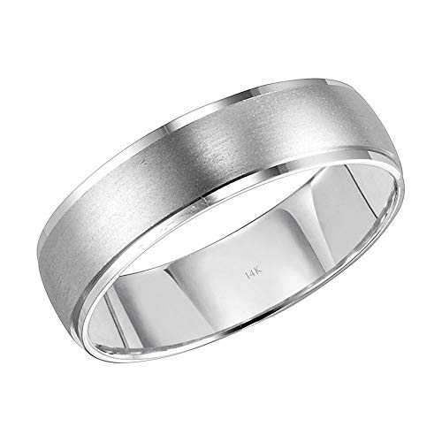 (Brilliant Expressions 14K White Gold Brushed Satin Finish Comfort Fit Low Dome Wedding Band with High Polish Stepped Edges, 6mm, Size 11.5)