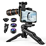 (Upgraded) Phone Camera Lens, 4 in 1 Cell Phone Lens Kit for iPhone X Lenses, 18X Telephoto Lens, 198° Fisheye Lens, 0.63X Wide Angle Lens and 15X Macro Lens (Screwed Together), for Smartphones