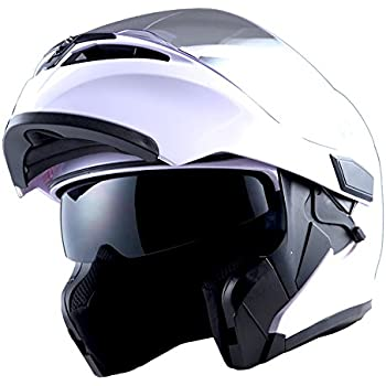 1Storm Motorcycle Modular Full Face Helmet Flip up Dual Visor Sun Shield: HB89 Glossy White