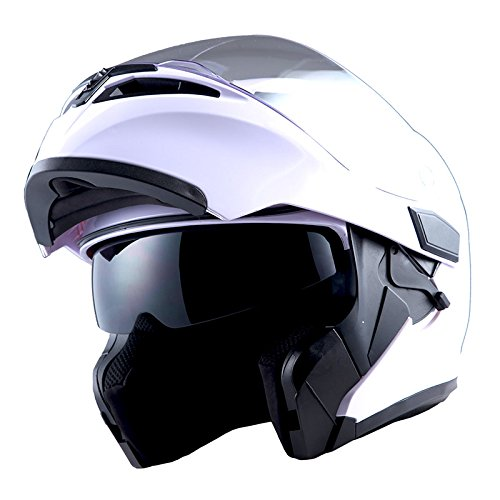1Storm Motorcycle Modular Full Face Helmet Flip up Dual Visor Sun Shield: HB89 Glossy White (Best Ventilated Full Face Motorcycle Helmet)
