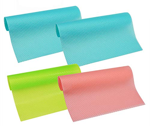 """HityTech 4 Pack Refrigerator Mats, EVA Refrigerator Liners Washable Can Be Cut Refrigerator Pads Fridge Mats Drawer Table Placemats/Size 17.7"""" x 11.8"""" - Random Colors"""