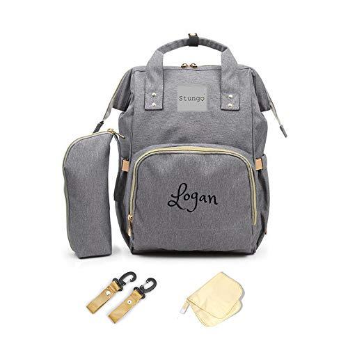 PERSONALIZED Diaper Bag Knapsack Backpack Monogram Baby Bag (Grey) (Diaper Baby Bags Name)