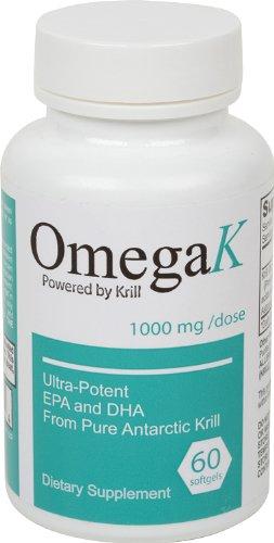 OmegaK Krill Oil 1000mg - Ultra Potent EPA et de DHA - 47 X plus puissant que l'huile de poisson ordinaire!