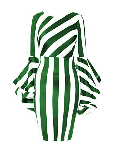 Dress for Women Casual Work Stylish and Fashion Party Dress Make You More Attractive, Suitable for Party,Daily,Beach,Mini Milk Fabric Dresses Plus Size for Women-Green and White XL