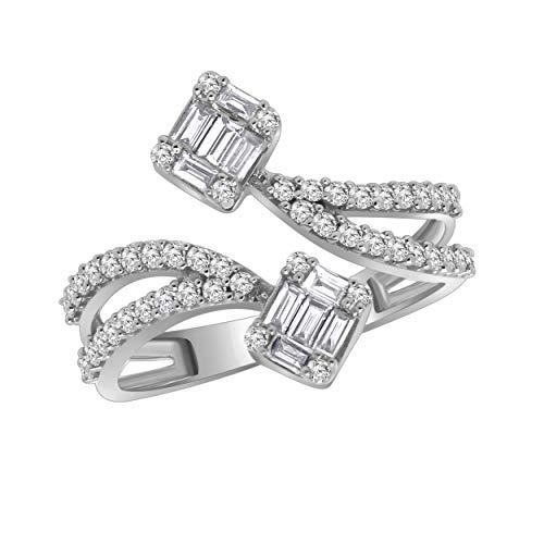 10K Gold Round & Baguette Shape Diamond Halo Bypass Style Engagement Ring (0.55 Ct) (Omega Diamond Ring)