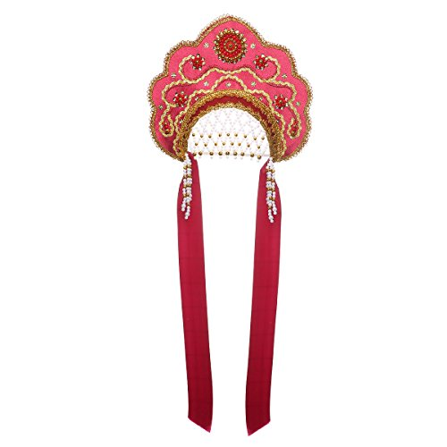 danila-souvenirs Russian Traditional Folk Costume Headdress Kokoshnik Larisa Burgundy #244 -