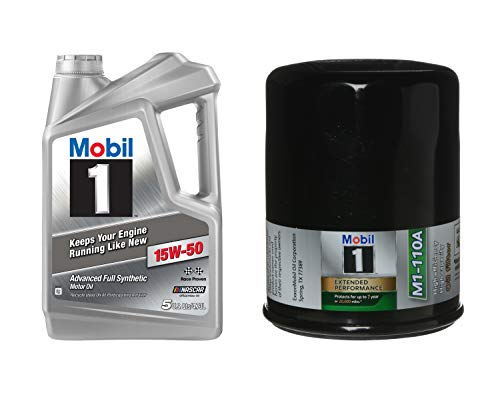 Mobil 1 Advanced Full Synthetic Motor Oil 15W-50, 5-Quart bundle with Mobil 1 M1-110A Extended Performance Oil Filter, 1-Count