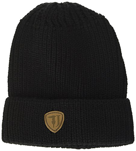 Trussardi Jeans Knitted Label Ecoleather, Gorro de Punto para Hombre negro