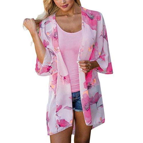 Long Cardigan Knitting Pattern - Clearance ! Auwer Women's Kimono Chiffon Floral Print Sheer Kimono Cardigan Blouse Loose Shawl Beach Cover up (XL, White)