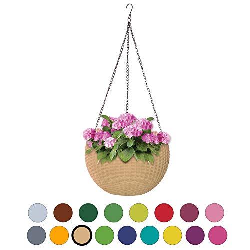 ALMI Hanna Hanging Planter 11 Inch Round Plastic Decor Garden Resin Flower Pot Chain Basket for Plant, Planters for Plants, For Indoor And Outdoor,  Impruneta