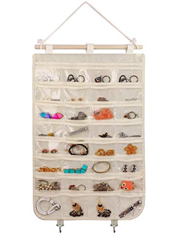 BB Brotrade Hanging Jewelry Organizer,Single Side 32 Clear PVC Pockets Wall Jewelry Storage with 2 Metal Hooks for Holding Jewelries (Beige)
