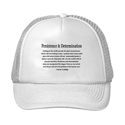 Trucker Hat Persistence&Determination Nothing in The World Can Take The Place Polyester Baseball Mesh Cap Snaps Black/White One Size ()