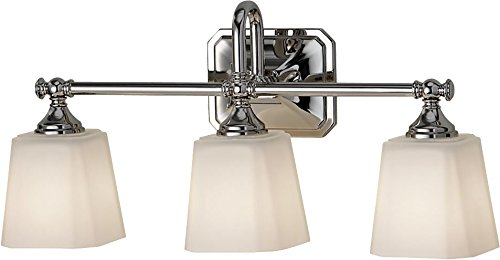 "Feiss VS19703-PN Concord Glass Wall Vanity Bath Lighting, Chrome, 3-Light (21""W x 10""H) 300watts from Murray Feiss"