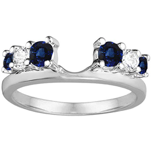 (Diamond and Sapphire Ring Wrap in Sterling Silver,(G-H,I2 to I3)(0.5Ct) Size 3 To 15 in 1/4 Size Interval)