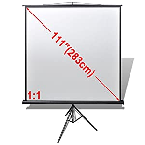 Anself Tripod Portable Projector Projection HD Screen Foldable Stand Height Adjustable Stand 78.7x78.7 inch 1:1