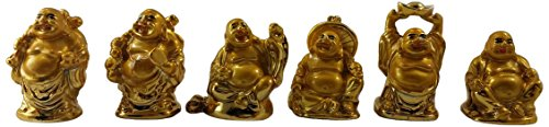 (JapanBargain S-4500, Gold Feng Shui Laughing Buddha Statue Figures Luck and Wealth)