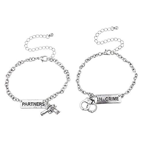 Lux Accessories Silvertone Partners in Crime Gun Handcuffs Bracelet Set 2PC ()