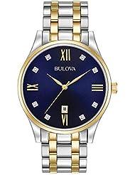 Bulova Men's Quartz Stainless Steel Dress Watch, Color: Two Tone (Model: 98D130)