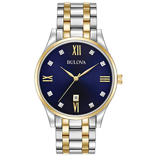 Bulova Men's Quartz Stainless Steel Dress Watch, Color: Two Tone (Model: 98D130)